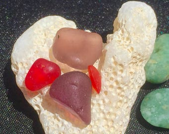 Beach Glass or Sea Glass of Hawaii beach Rare TWO PURPLE! RED! Bulk Sea Glass! Sea Glass Bulk! Seaglass!