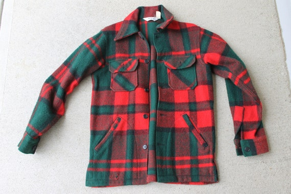 vintage Woolrich plaid jac-shirt, men's small, made in USA