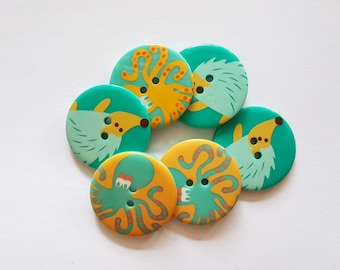 12 pcs Octopus and Hegdehog Printed Retro Buttons 30mm