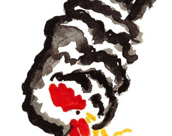 Rooster for Year of the Rooster, Chinese Zodiac, Original Zen Sumi ink Brush Painting, zen decor, child's nursery art, japan style, chicken