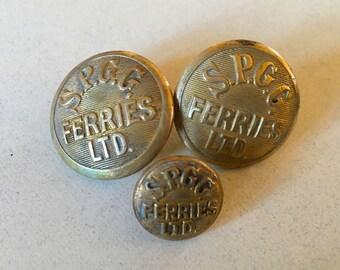Antique Brass Shipping Buttons S.P.G.G. Ferries LTD