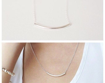 Sterling silver tube Bar layering necklace, bar necklace , Sterling silver Necklace, curved bar necklace, gifts for her