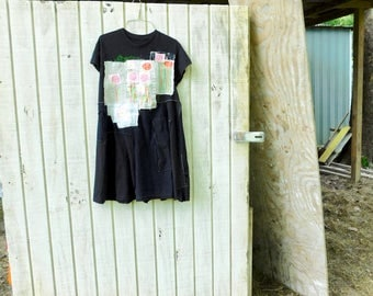 Little Black Dress, Upcycled Tunic, Mixed Media Art, Collage, Flower, Patchwork Shirt, Wearable Art Tshirt, Fun Clothes, Tshirt dress