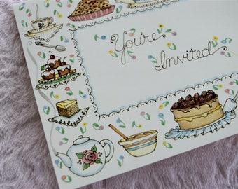 Vintage BIRTHDAY PARTY INVITATION Card Invite Cake Cupcake Pie Baking Dish Tea Cup Pot Teacup Teapot Coffee Muffn Brownie Cookies Nos Unused