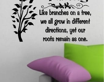 Family...Grow in Different Directions..Our Roots Remain As One...Home/Family Quotes Family Wall Words Sayings Lettering Removable Home Decal