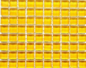 100 (10mm) Corn Silk Yellow MINI Crystal Glass Mosaic Tiles 3/8 in.//Mosaics/ Mosaic Supplies//Crafts