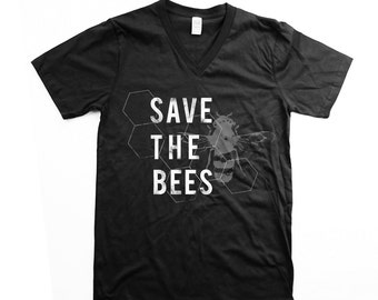 Save Bees Shirt - Limited Edition -  Unisex V Neck - Save the Bees - Black and White - Honeycomb - Organic shirt - S M L XL- Clothing