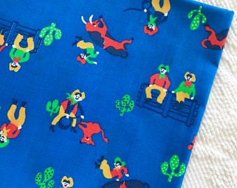 Vintage Cotton Cowboy Fabric Blue Western Desert Horses Old West