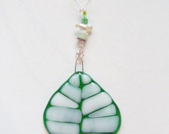 Aspen Leaf Fused ARt GLass Suncatcher // Fused Glass Tree // Sun Catcher // Summer // Spring // Nature// Arbor Day // Bird // Cheerful //Fun