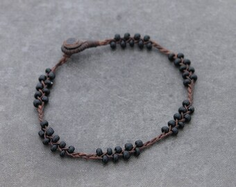Black Woven Beaded Anklet Braided Glass Beads