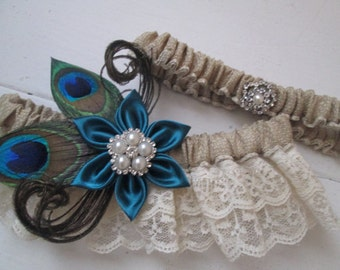 Peacock Wedding Garter Set, Burlap Garter, Oasis Teal Garter, Ivory Lace Rustic Garter, Something Blue, Dark Teal, Deep Teal