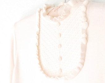 SALE 60s Ruffle Blouse * Vintage Top * White Blouse * 1960s Shirt * Medium - Large