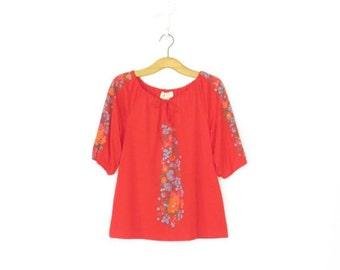 SALE Vintage Peasant Blouse * Folk Floral Shoulder Shirt * Poet Blouse * Medium / Large