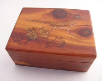 Rustic Keepsake Box, Southwesr Decor, Cedar, Wood Burned, Personalized Keepsake Box, Wooden Memory Box, Small Box with Lid