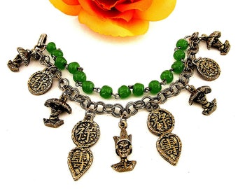 Asian Style Dangling Charm Bracelet With Faux Jade Green Glass Beads