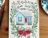 Original Watercolour Painting - Home Sweet Home House Portrait