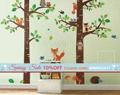 Forest Animals Wall decal Tree Wall Decal Tree Tops Woodland Critters Nursery Baby Playroom Kids Children Wall Decal Wall Sticker