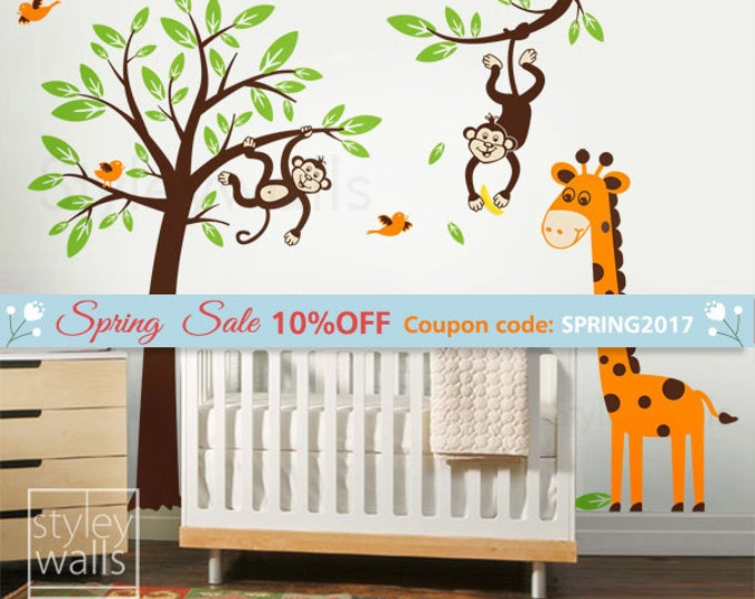 Tree Wall Decal, Monkey and Giraffe Wall Decal, Monkey Wall Decal, Giraffe Wall Decal, Jungle Animals Wall Decal for Baby Nursery Kids Room