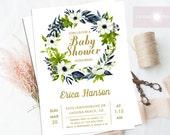 Floral Wreath Invitation, Baby Shower Invite, Baby Shower Invitation, Baby Shower Boy, Baby Shower Girl, Printable Invite, jadorepaperie