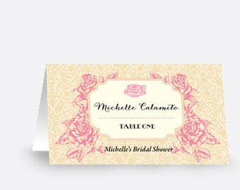 Seating Card / Place Card / Escort Card - Vintage Roses - Wedding / Baby Shower / Party / Bridal Shower - DEPOSIT