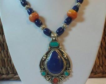 Big bold chunky amazing lapis Royal pendant long necklace
