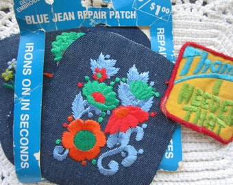 Vintage Embroidered Blue Jean Repair Patches Set of 4 Large Patches 1970's