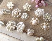 Pearl Cluster Earring Lot. Baroque Pearl Cluster Earrings. Beige, Tiny Faux Pearl, Metal, Glass, Beaded Earrings, MOP, Destash E20
