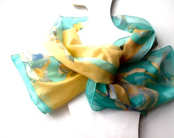 silk scarf for women green and mustard colors hand painted decorative motives of lines natural silk ponge scarf