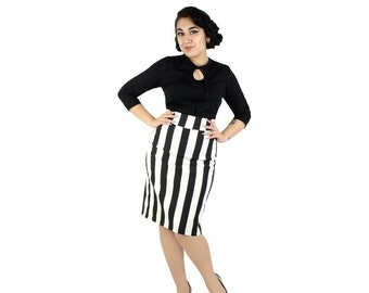 Black and White Striped Pin Up Pencil Skirt