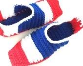 Crochet Adult Unisex Shoes Slippers, Belize flag, Family House Slippers, Crochet Booties, Belize Inspired