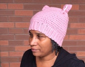 Pussy Hat, Crochet Pussy Hats, Crochet Cat Hat, Women's March,Women Crochet Pussy Hat, March on Washington, Hats & Caps,