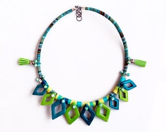 Rope Statement Necklace, Fiber Necklace, Blue Green Bib Necklace