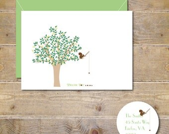 Squirrels, Squirrel Note Cards,  Thank You Cards, Squirrel Thank You Cards,  Squirrels, Personalized Note Cards, Trees, Squirrrel Stationery