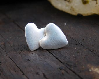 Brushed Sterling Silver Heart Post Earrings
