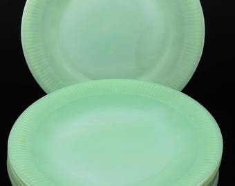 Fire King Jadeite Jane Ray Pattern 9 1/8 Inch Dinner Plate(s) (6 Available)