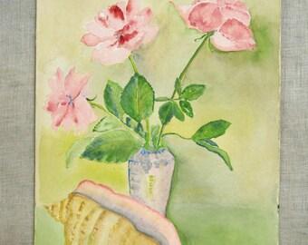 Vintage Watercolor Still Life Painting, Flowers, Original Fine Art, Works on Paper, Feminine, Sea Shell, Vase of Flowers, Unframed, Handmade