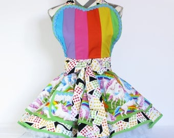 NEW Ready to Ship Unicorns and Rainbows Candy Shop Apron by Dots Diner