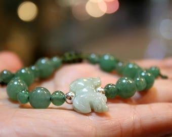 Jade Horse Bracelet, Light Green Jade, Green Aventurine Handknotted Bracelet, Friendship Bracelet, Birthday Gift, Birth Animals