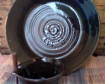 Walnut brown low serving platter set - ceramic plate set - cheese bowl - shallow pottery dish - modern ceramic serving plate - plb2803