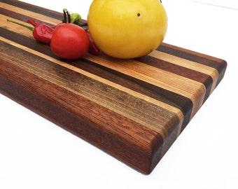 "Handmade Wood Cutting Board - Small Lovely - Walnut - Mahogany - Cherry and White Oak - 14"" x 5-1/2"" x 7/8"""