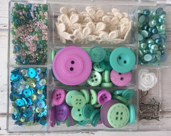 """Embellishment Kit, Mixed Buttons, Beads, Trim, Charms, Sequins, Case & More, """"Sew Crafty"""" LL116,  by Buttons Galore, Sewing, Crafts"""