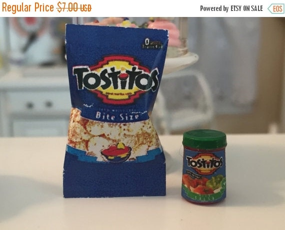 Miniature Tostitos and Salsa, Dollhouse Miniature, Miniature Food, Dollhouse Accessory, 1:12 Scale Miniatures, Chips & Salsa, Pretend F