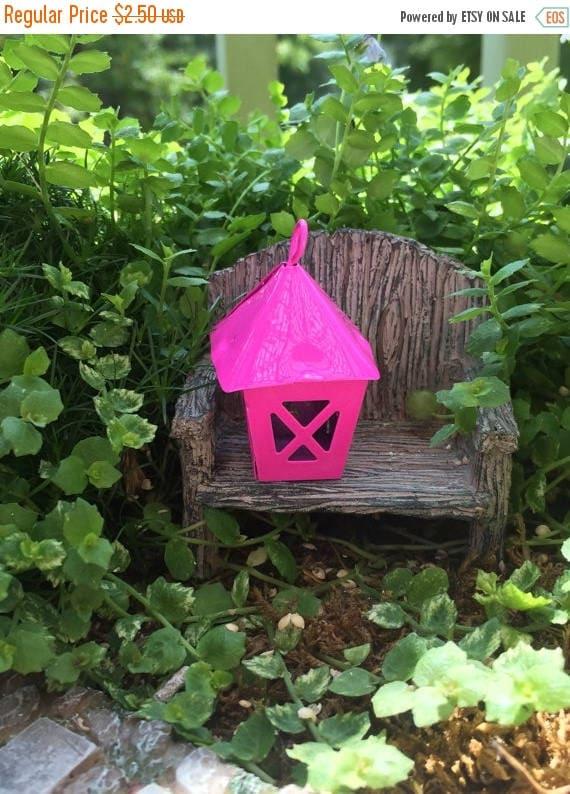 SALE Miniature Bright Pink Metal Lantern, Fairy Garden Accessory, Miniature Gardening, Home and Garden Decor, Topper, Crafting