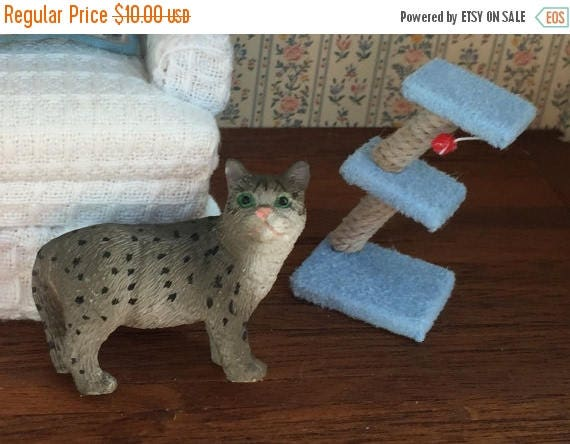 SALE Miniature Cat Toy, Scratching Post Stand, Dollhouse Miniature, 1:12 Scale Miniature, Dollhouse Cat Toy Post, Miniature Dollhouse Access