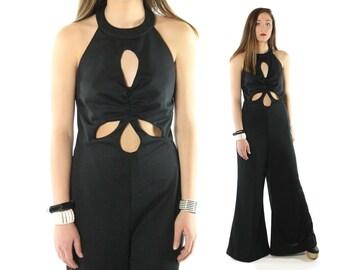 Vintage 70s Black Jumpsuit Bell Bottom Pants Halter Neckine Teardrop Cutouts Romper 1970s Large L Hippie Boho Festival Fashion