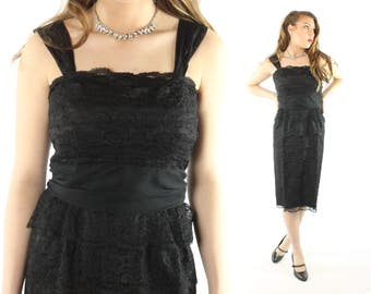 Vintage 50s Lace Cocktail Party Dress Black LBD Strapless Sleeveless Wiggle Evening Gown 1950s Medium M Ferman O'Grady Big Bow Pinup