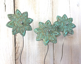 Aqua Green Bronze Patina Flower Garden Art Planter Stakes Set 3 Gardening Present Gift For Gardener, Container Garden Decor Potted Plant Art