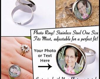 Photo Jewelry / Photo Ring /  Custom Photo Ring / Stainless Steel Ring / Picture Jewelry / Picture Ring / Mother's Ring / Grandmother Ring