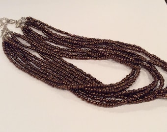 Multi Strand Bronze / Copper Color Beads Necklace, 9 strands , Choker style Necklace, Brown Bead Necklace