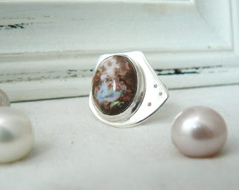 Sterling silver and Mexican Fire Opal Ring - Size 8